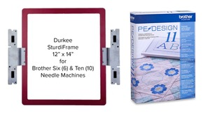 "Brother PEDESIGN11, Full Version Software +Durkee STURDYPED12x14"" SturdiFrame Split Design Hoop for PR600 PR620 PR650 PR655 PR670 PR1000 PR1050 PR1055"
