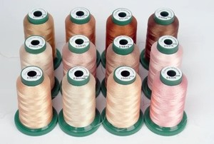 DIME, FTT001, Skin Tone, Thread, Assortment, Thread Kit, Designs in Machine Embroidery, DIME FTT001 Skin Tone Thread Set Assortment, 12-Spools x 1100 Yards of 40wt Poly for Photo Stitch Embroidery