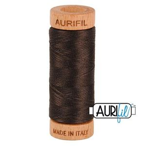 Aurifil 1080-1130 Cotton Mako Thread, 80wt 280m VERY DARK BARK