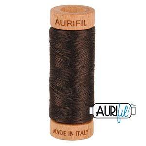 Aurifil 1080-1130 Cotton Mako Thread, 80wt 280m VERY DARK BARK