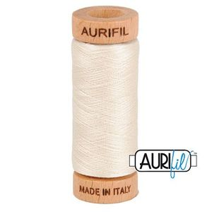 Aurifil 1080-2309 Cotton Mako Thread, 80wt 280m SILVER WHITE