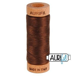 Aurifil 1080-2360 Cotton Mako Thread, 80wt 280m CHOCOLATE