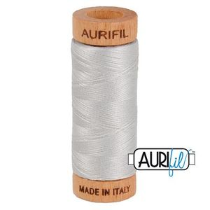 Aurifil 1080-2615 Cotton Mako Thread, 80wt 280m ALUMINUM