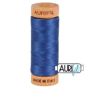Aurifil 1080-2775 Cotton Mako Thread, 80wt 280m STEEL BLUE