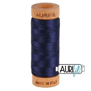 Aurifil 1080-2785 Cotton Mako Thread, 80wt 280m VERY DARK NAVY