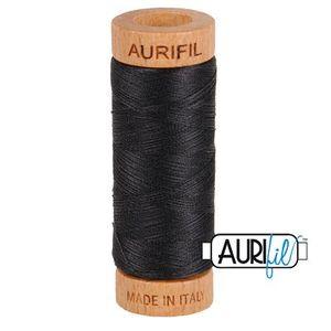 Aurifil 1080-4241 Cotton Mako Thread, 80wt 280m VERY DARK GRAY