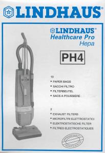 PH4, Lindhaus, vacuum cleaner bags, Lindhaus, PH4, Package,of 10,  Vacuum Cleaner Bag,s & 2 Filters, for HealthPro HEPA 12, CH Pro, & RX Hepa Models