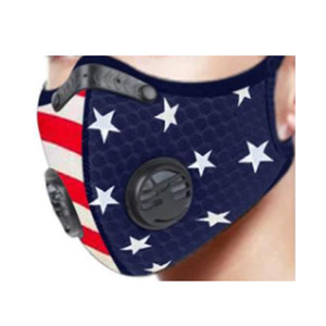 Jansan JS-8147 Sport Face Mask with 1 Filter, American Flag Pattern