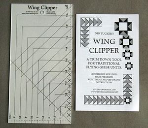"99186: Studio 180 Design DT07 Wing Clipper Trim Down Tool Ruler Template for Flying Geese Quilts, Ruler size: 5½"" x 10½"