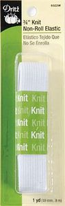 Dritz DE9322W 3/4in White Knit Non-Roll Elastic 1yd