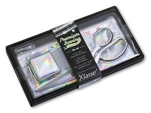 99225: Klasse B4725 Iridescent Scissors Shears Bent Trimmers, 3pc Boxed Gift Set, Zippered Storage Pouch, Holographic Silver PU Retractable Tape Measure 60""