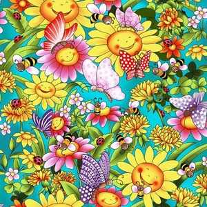Blank Quilting Pixie Patch 1552-75 Turquoise Sunflowers with butterflies