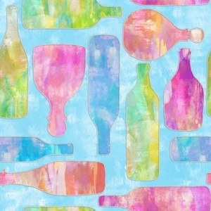 v3 Wishes Fabric 3WI18017-BLU-CTN-D MIXOLOGY - BOTTLES (GLITTER)