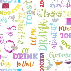 3 Wishes Fabric 3WI18018-WHT-CTN-D MIXOLOGY - WORDS (GLITTER)