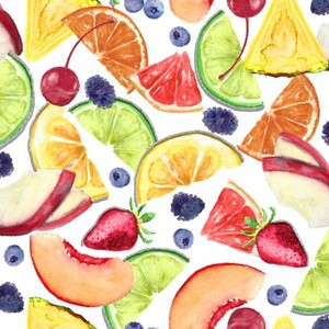 3 Wishes Fabric 3WI18020-WHT-CTN-D MIXOLOGY - FRUIT (GLITTER)