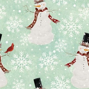 3 Wishes Fabric 3WI18103-TRQ-CTN-D HOME FOR THE HOLIDAYS - SNOWMAN