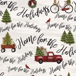 3 Wishes Fabric 3WI18105-BGE-CTN-D HOME FOR THE HOLIDAYS - WORDS & TRUCKS