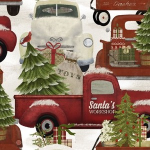 3 Wishes Fabric 3WI18110-MLT-CTN-D HOME FOR THE HOLIDAYS - TRUCKS