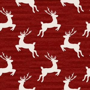 3 Wishes Fabric 3WI18109-RED-CTN-D HOME FOR THE HOLIDAYS - REINDEER