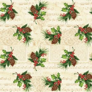 3 Wishes Fabric HEG9516-44 Christmas Legend Holly Leaf & Berry