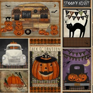 3 Wishes Fabric 3WI18111-MLT-CTN-D Spooky Night Patchwork