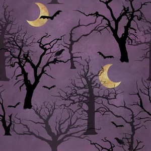 3 Wishes Fabric 3WI18114-PUR-CTN-D Spooky Night Forest