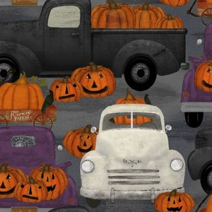 3 Wishes Fabric 3WI18115-GRY-CTN-D Spooky Night Pumpkin Patch