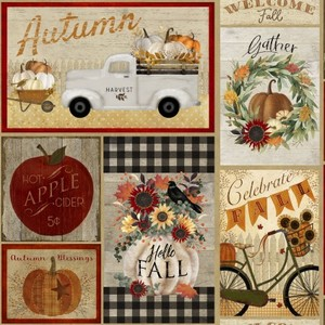 3 Wishes Fabric 3WI18116-MLT-CTN-D Happy Fall Patchwork