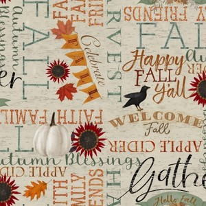 3 Wishes Fabric 3WI18119-BGE-CTN-D Happy Fall Words