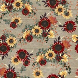 3 Wishes Fabric 3WI18120-TAN-CTN-D Happy Falls Flowers