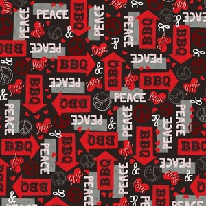 EE Schenck Peace, Love & BBQ HEG9507-98 Words & Arrows Red/Black