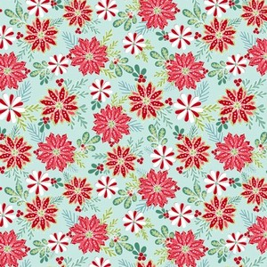 EE Schenck Heart & Home CON10323-04 CHRISTMAS FLORAL - LT TEAL
