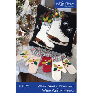 Indygo Junction IJ1172 Winter Skating Pillow and Warm Woolen Mittens Wool Applique Patterns
