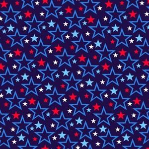 EE Schenck Stars & Stripes Forever SEF5831-78 Tossed Stars Dk Blue
