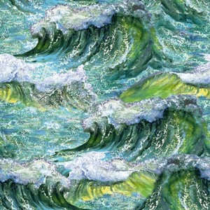 3 Wishes Fabric Call of the Sea 3WI17991-MLT-CTN-D Waves Multi