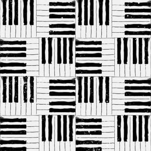 3 Wishes Fabric Rhythm & Hues 3WI17997-WHT-CTN-D Piano Keys White