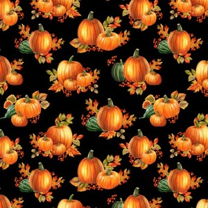 EE Schenck Autumn Elegance BEN1669M-12 Pumpkin Allover Black