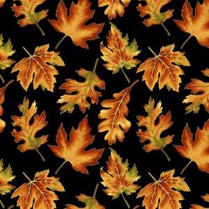 EE Schenck Autumn Elegance BEN1670M-12 Leaf Allover Black