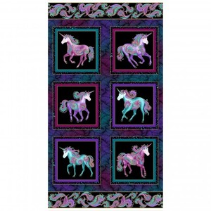 Benartex Believe in Unicorns BEN10390M-12 Unicorn Panel - Metallic Black/Multi
