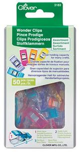 56271: Clover Needlecraft CL3183 Wonder Clips 50ct Assorted Colors