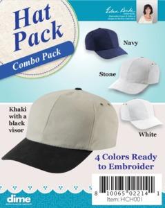 Variety Pack of Hats, DIME, SKU HCH001, Ship US Mail, Variety Pack of Hats, Designs In Machine Embroidery, SKU HCH001