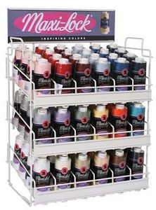 101627: Maxi-Lock Wire Rack with Top 18 Colors, 72 3000 Yd. Cones of Serger Thread