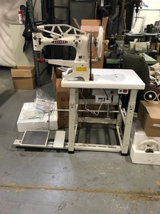 101628: Consew Space Saver Table, Stand, Legs, Servo Motor 110V for Cylinder Bed Arm, Feed Off the Arm, and Shoe Patch Industrial Sewing Machines
