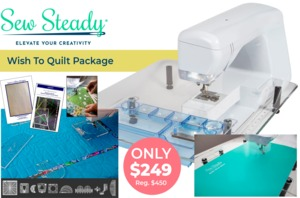 """Sew Steady Wish to Quilt Table Package 22.5""""x25.5"""" Wish Table and Essential Quilting with Rulers Tools"""