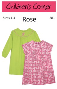 Children's Corner CC281S CC281L Rose Sewing Pattern Sizes 1-4 and 5-8