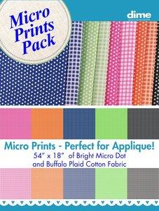 "103227: DIME PMPFAB001 Micro Prints Fabric Pack Bright Micro Dot and Buffalo Plaid Cotton Fabric, 54"" x 18"""