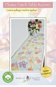 Amelie Scott Designs ASD235 Flower Patch Runner ITH Machine Embroidery
