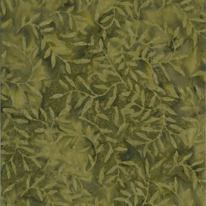 Batik Textiles 0106- Deep Fern Green Leaf Branches Designer Palette Print