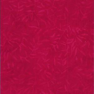 Batik Textiles 0107– Deep Scarlet Red Leaf Branches Designer Palette Print