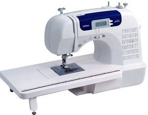 Brother CS6000i 60/100 Stitch Computer Sewing Machine, Ext Table, Case, 11 Feet, 7x1-Step BHs, Threader, Start/Stop, Needle Up, Speed Limit, Drop Feed